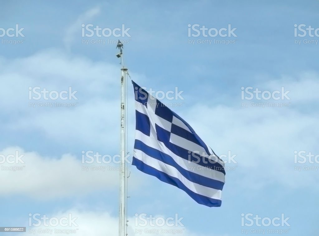 Flag of Greece against the Sky, Athens stock photo