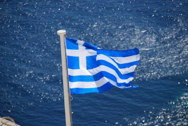 Bandera de Grecia en Santorini - foto de stock