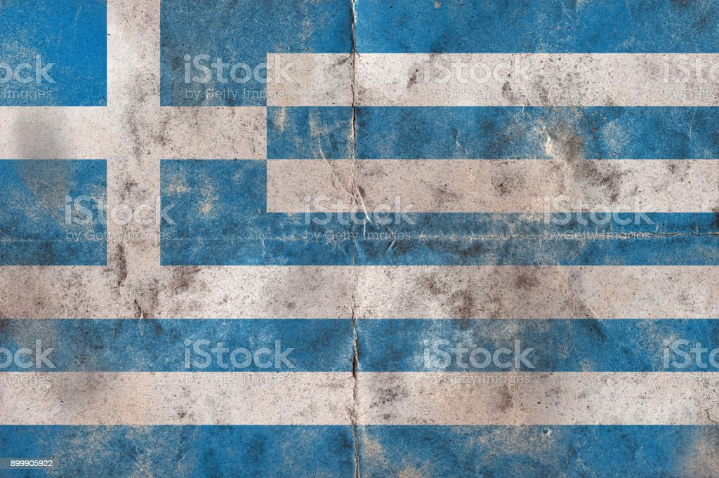 Flag of Greecel on a vintage folded sheet of paper