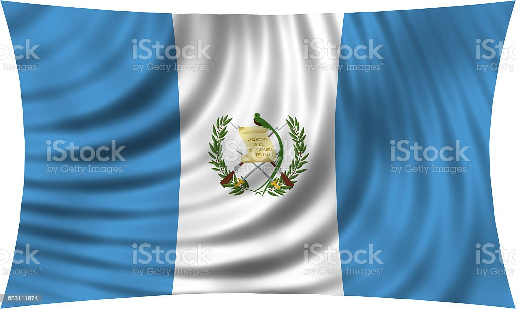 Flag of Guatemala waving isolated on white - foto de stock