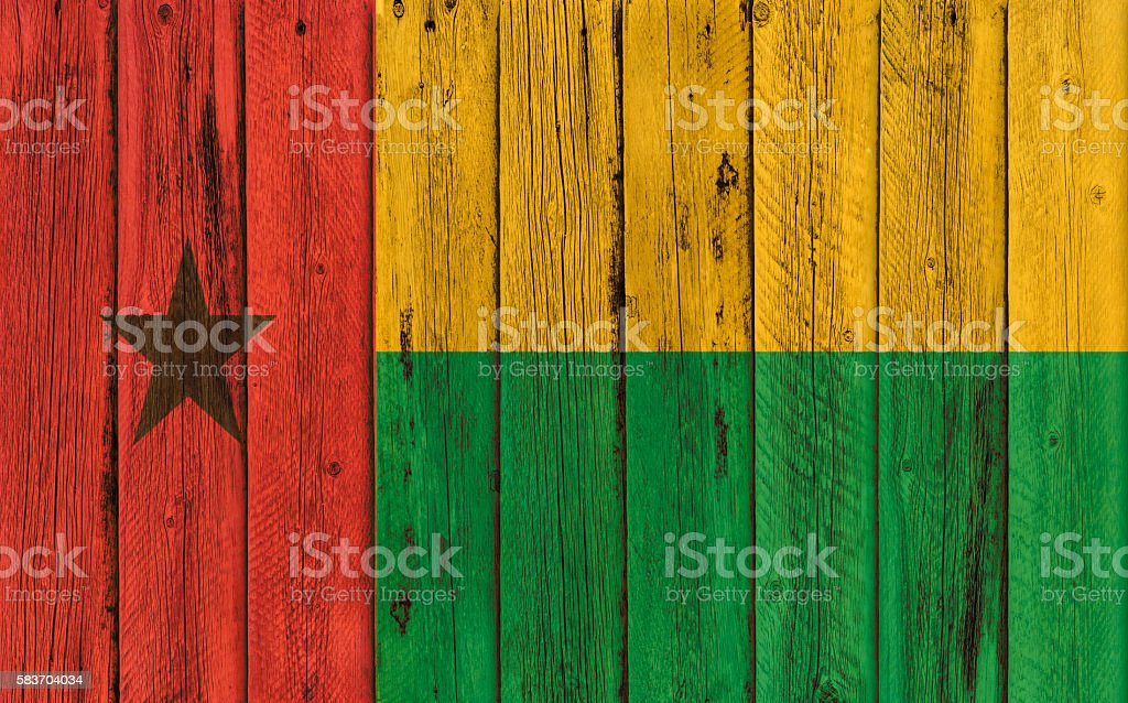 Flag of Guinea Bissau painted on wooden frame stock photo