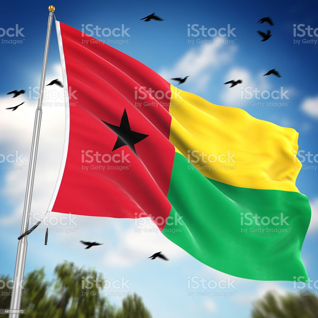 Flag of Guinea Bissau stock photo