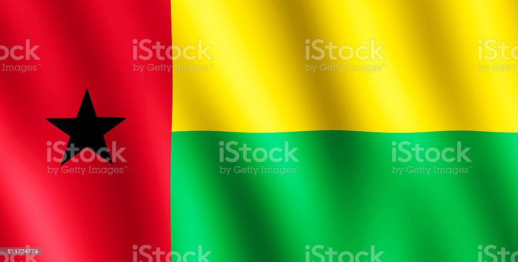 Flag of Guinea-Bissau waving in the wind stock photo