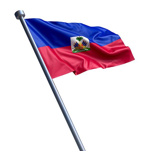 Flag of Haiti isolated on white Flag of the Republic of Haiti on modern metal flagpole. Haiti Flag stock pictures, royalty-free photos & images