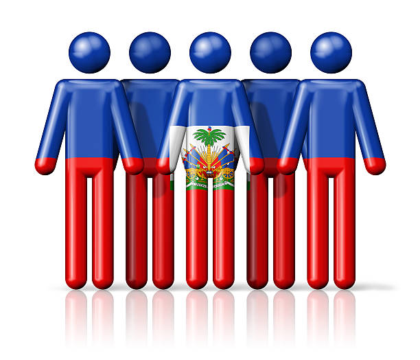 Flag of Haiti on stick figure Flag of Haiti on stick figure - national and social community symbol 3D icon Haiti Flag stock pictures, royalty-free photos & images