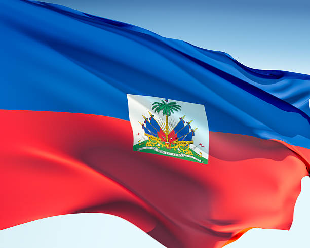 Flag of Haiti Haitian flag waving in the wind. Elaborate rendering including motion blur and even a fabric texture (visible at 100%). Haiti Flag stock pictures, royalty-free photos & images