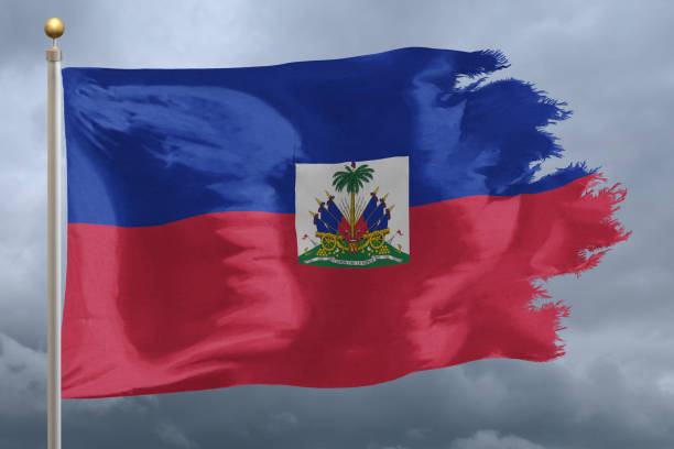 Flag of Haiti Flag of Haiti tattered and torn with stormy sky Haiti Flag stock pictures, royalty-free photos & images