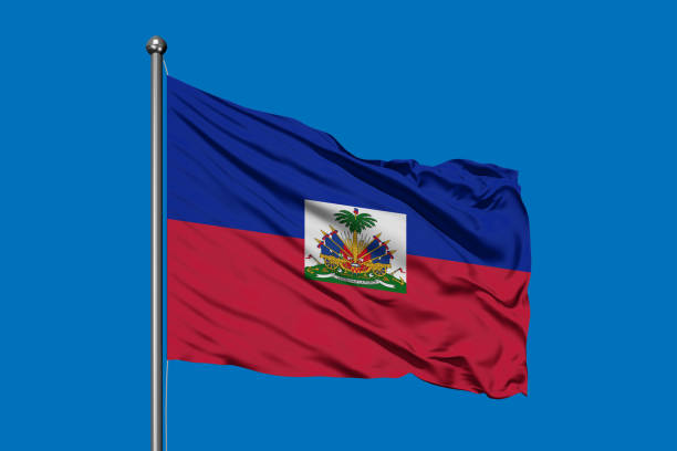 Flag of Haiti waving in the wind against deep blue sky. Haitian flag. Flag of Haiti waving in the wind against deep blue sky. Haitian flag. Haiti Flag stock pictures, royalty-free photos & images