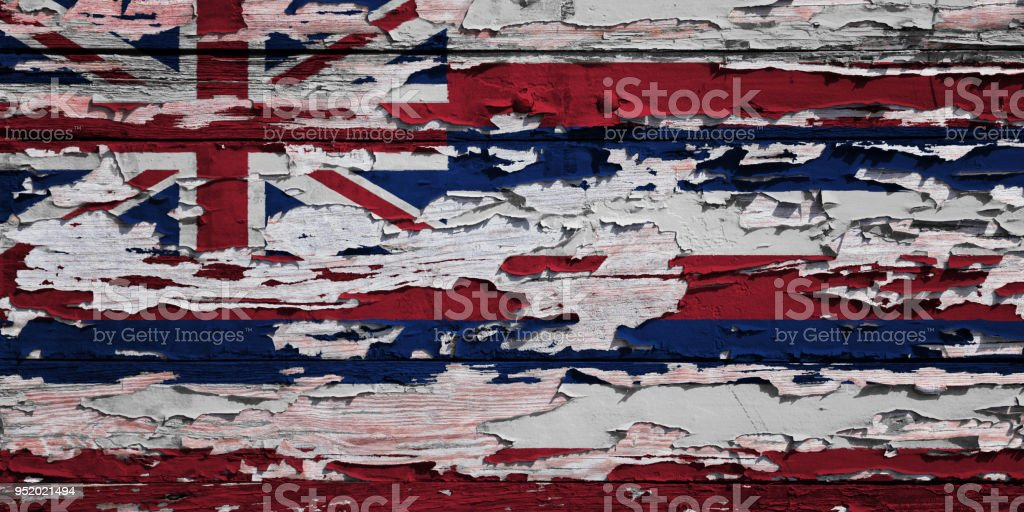 Bandeira de Havaí pintado numa prancha de grunge - foto de acervo