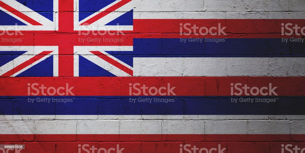 Flag of Hawaii painted on a wall stock photo