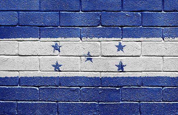 bandera de honduras en pared de ladrillos - bandera de honduras fotografías e imágenes de stock