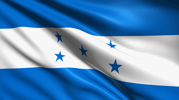 flag of Honduras Honduran flag with fabric structure honduras stock pictures, royalty-free photos & images