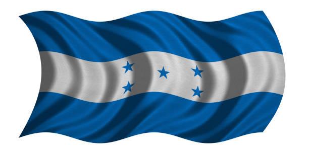 bandera de honduras ondulado en blanco, textura de la tela - bandera de honduras fotografías e imágenes de stock