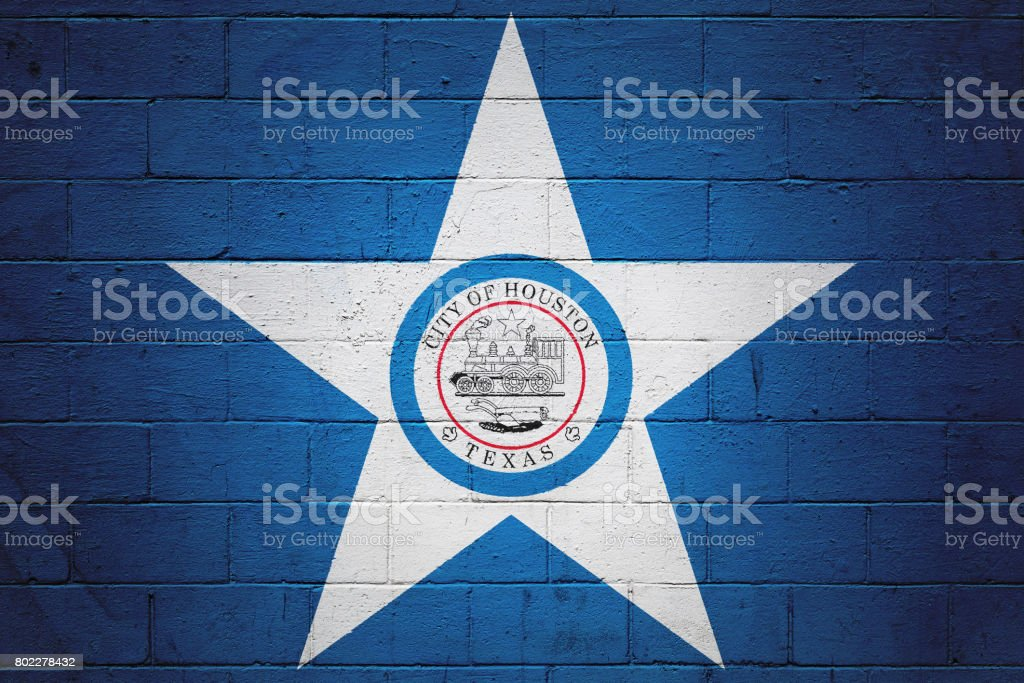 Flag of Houston painted on a wall stock photo