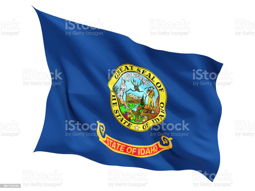 Flag of idaho, US state fluttering flag stock photo