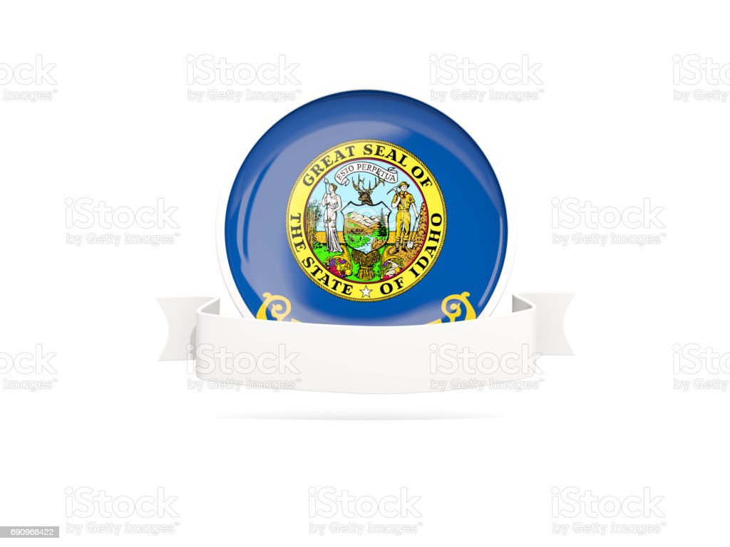 Flag of idaho with banner, US state round icon stock photo