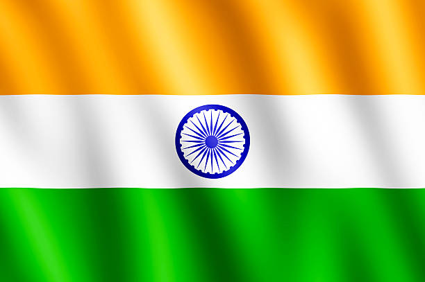 Flag of India waving in the wind stock photo