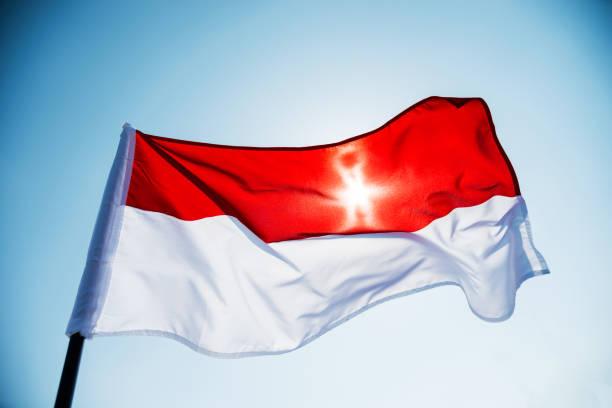 bandeira da indonésia contra o céu azul - bandeira da indonesia - fotografias e filmes do acervo