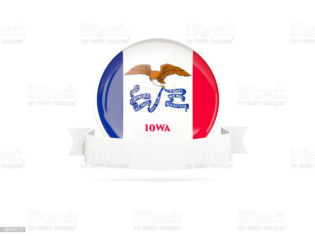 Flag of iowa with banner, US state round icon stock photo