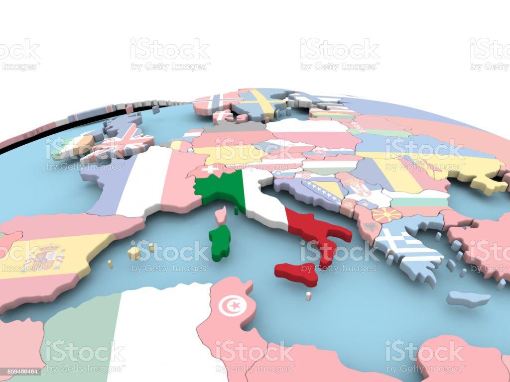 Flagge von Italien auf hellen Globus – Foto