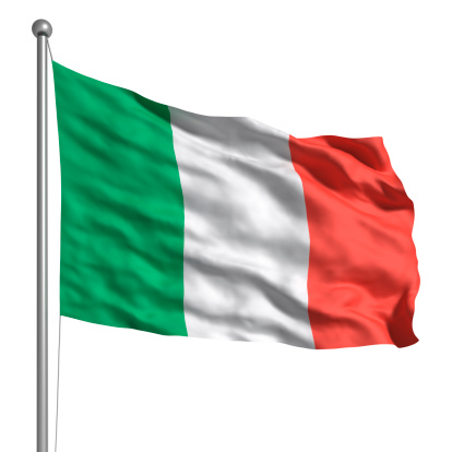 Flag of Italy. Rendered with fabric texture (visible at 100%25). Clipping path included.