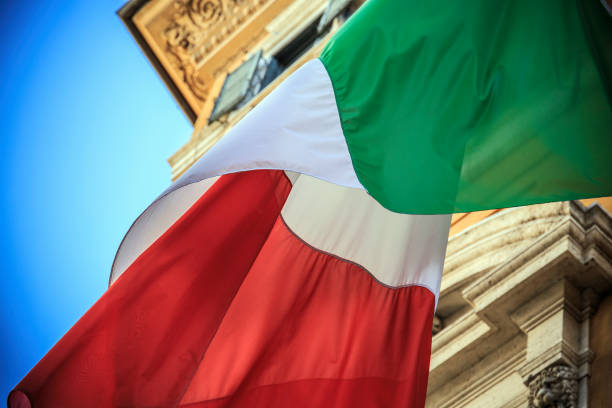 Flag of Italy Flag of Italy in Rome citizenship stock pictures, royalty-free photos & images