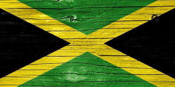 Flag of Jamaica on Wood stock photo