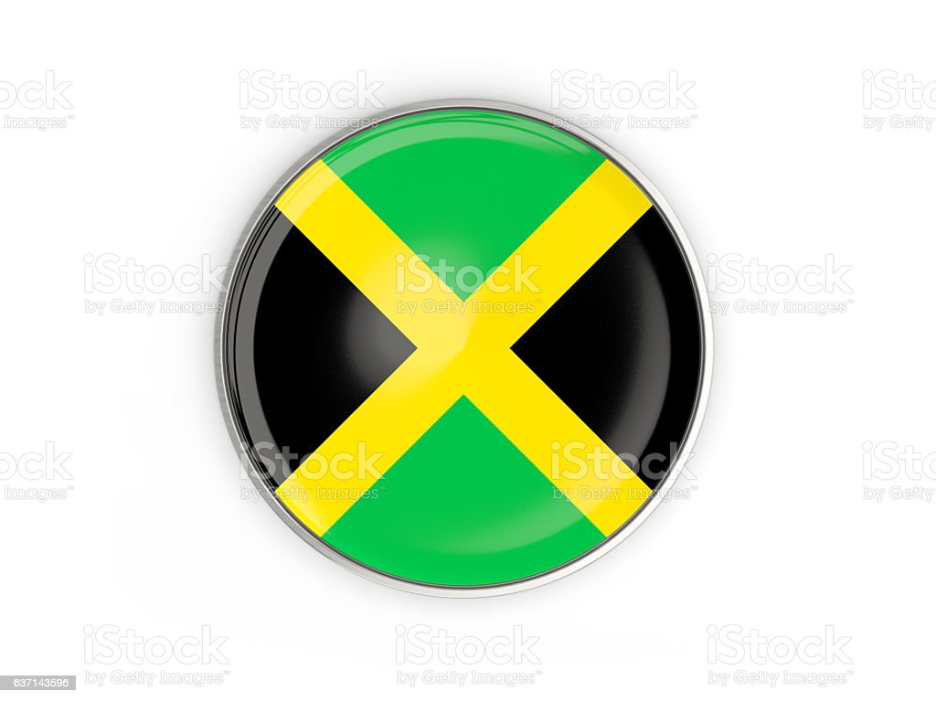 Flag of jamaica, round icon with metal frame - foto de stock