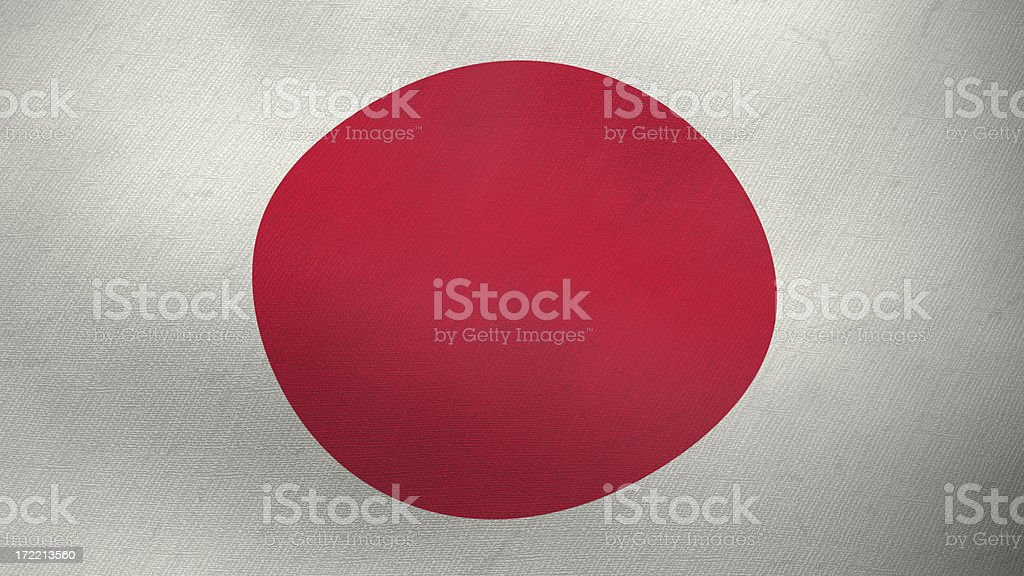 3D flag of Japan - 16/9 royalty-free stock photo