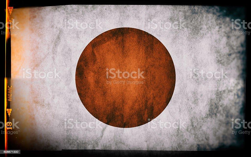 Flag of Japan, on a grunge film frame - foto de acervo