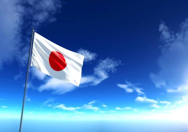 Bandera de Japón bajo el cielo azul, 3D rendering - foto de stock