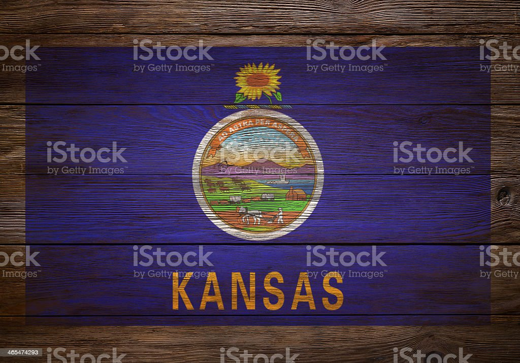 Flag of Kansas Stenciled on wood royalty-free stock photo