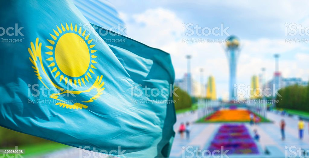 Flag of Kazakhstan in Astana stock photo