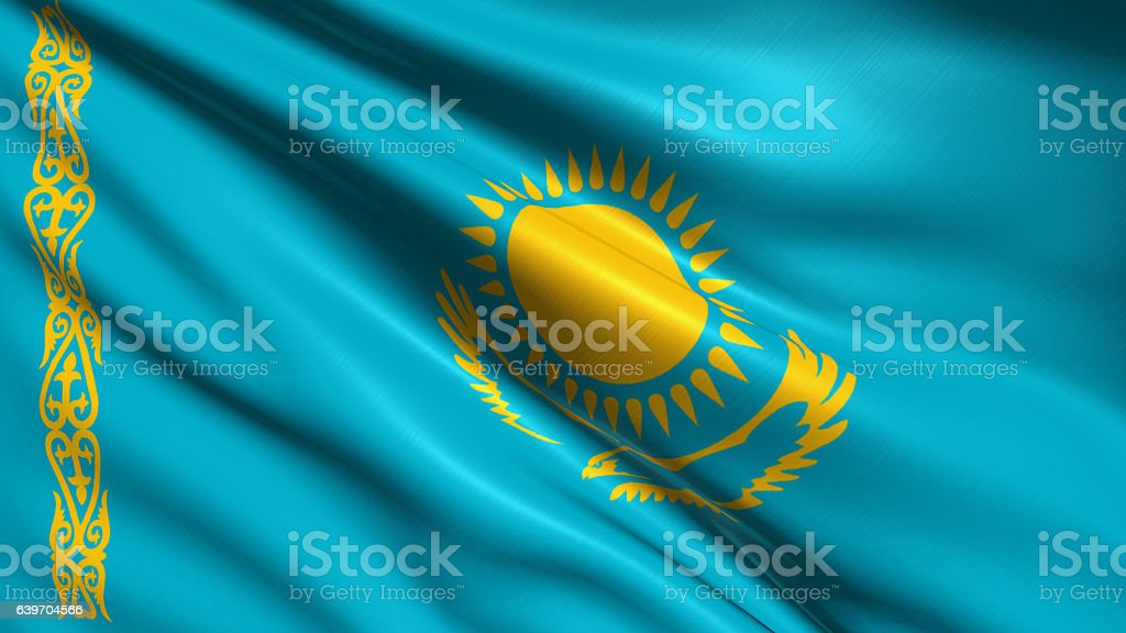 Flag of Kazakhstan stock photo