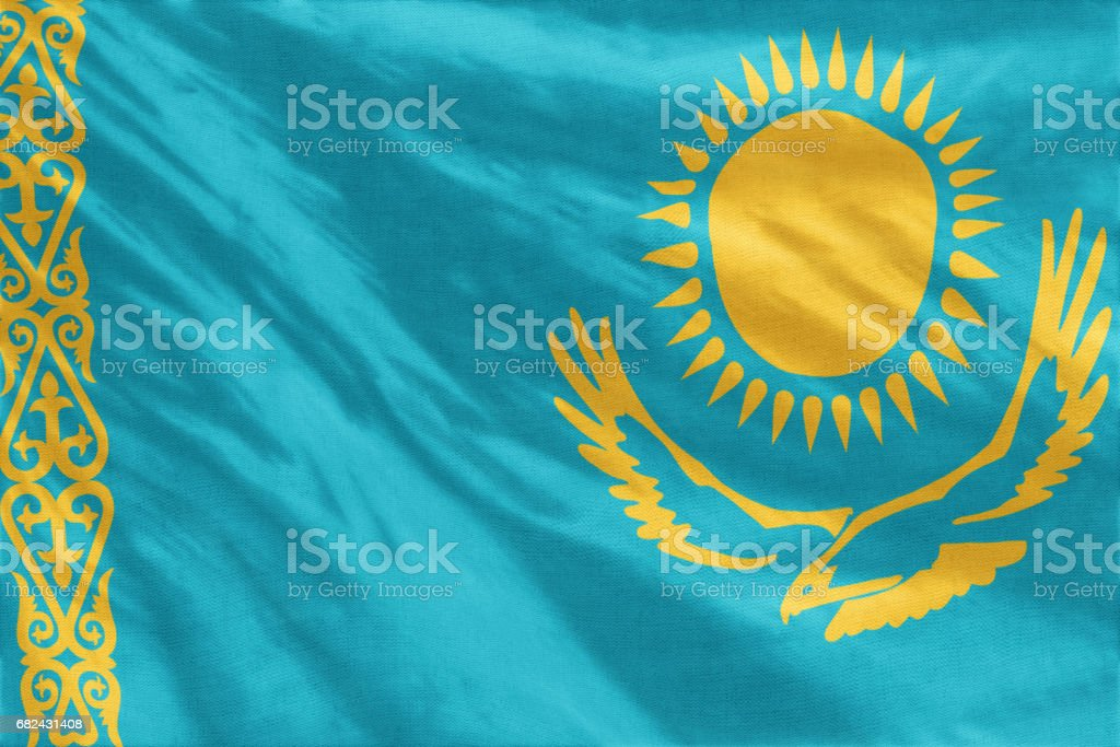 Flag of Kazakhstan royalty-free stock photo