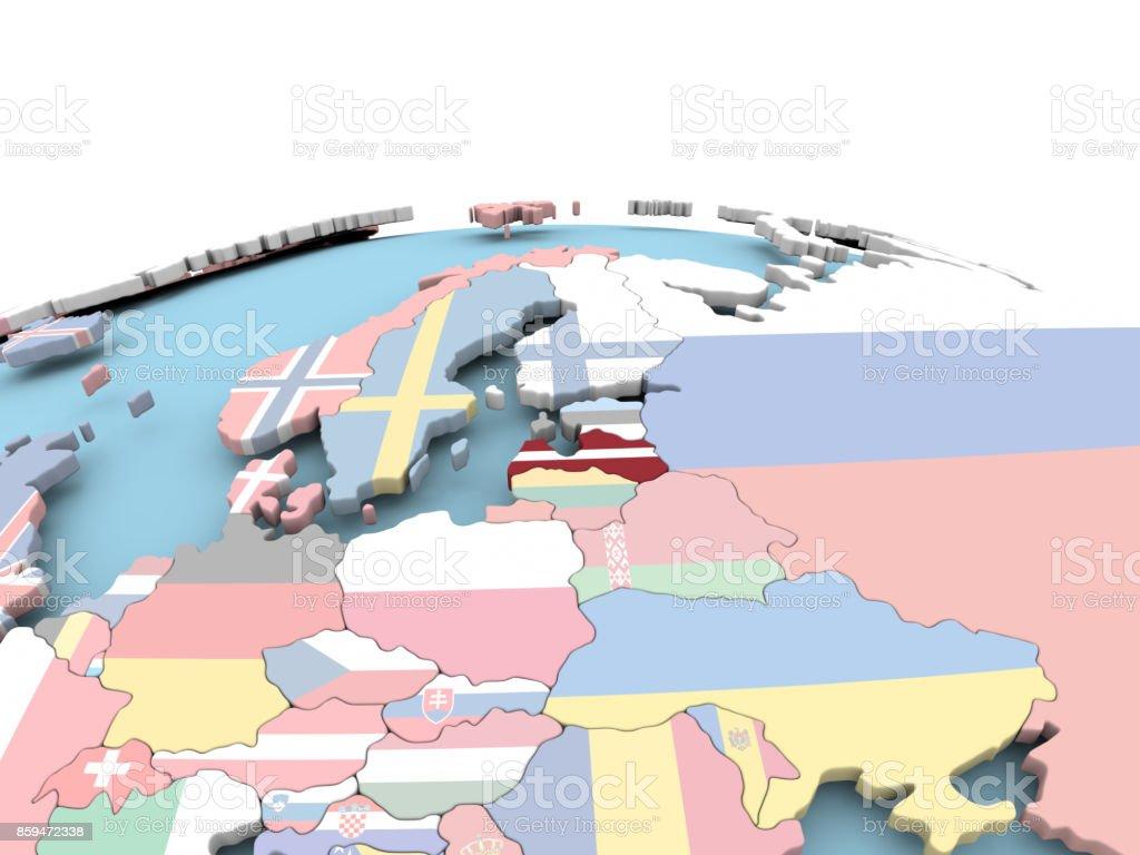 Flag of Latvia on bright globe stock photo
