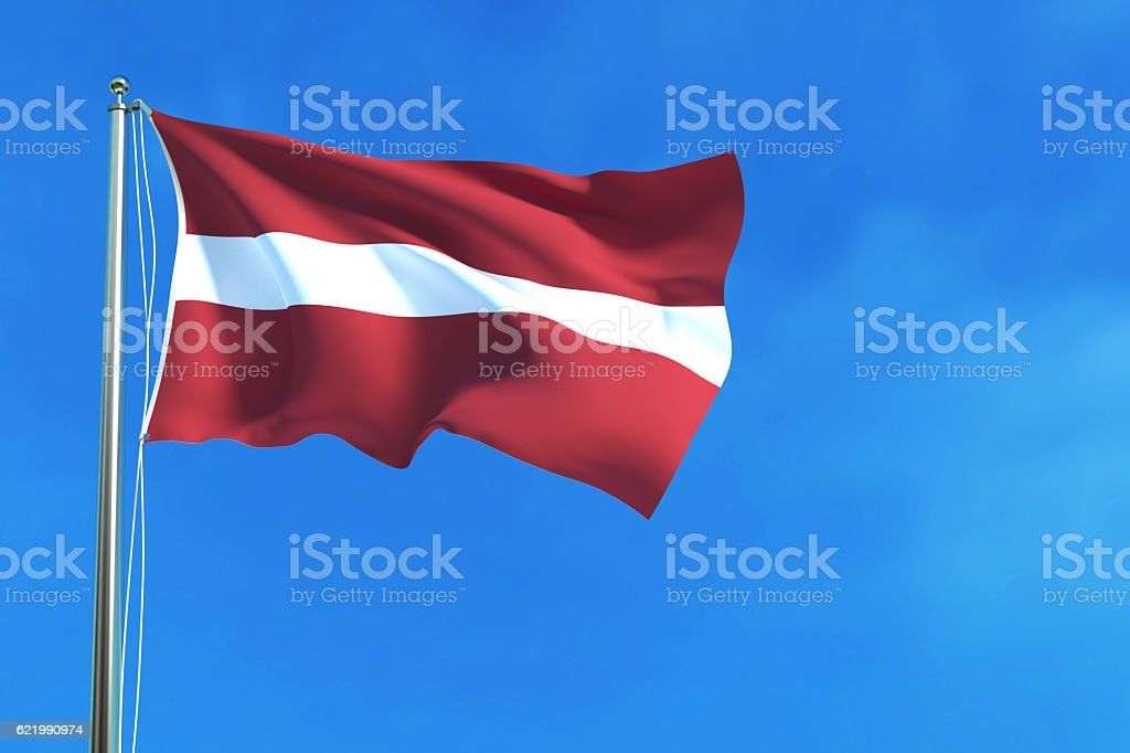Flag of Latvia on the blue sky background. 3D illustration stock photo