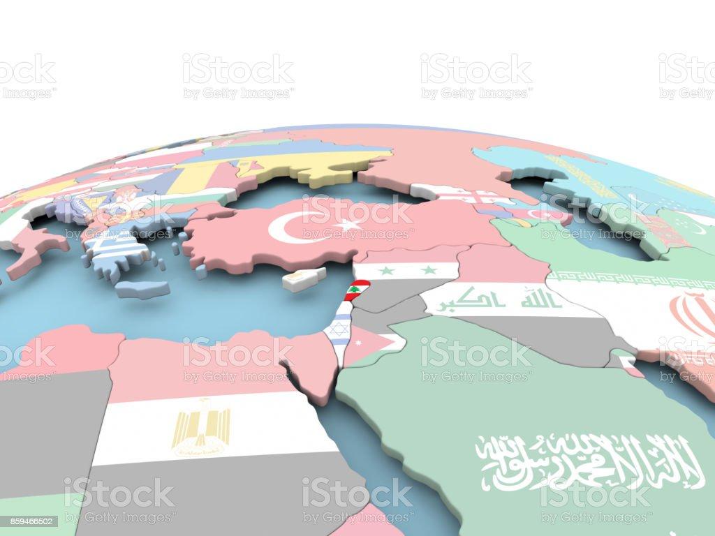Flag of Lebanon on bright globe stock photo