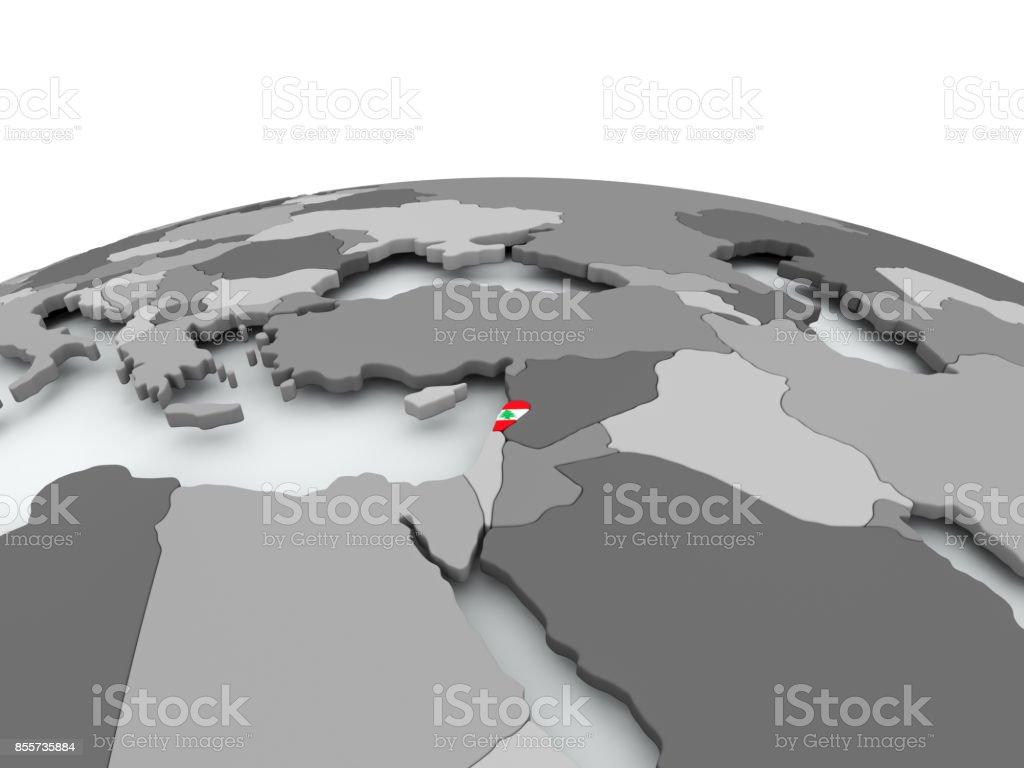 Flag of Lebanon on globe stock photo