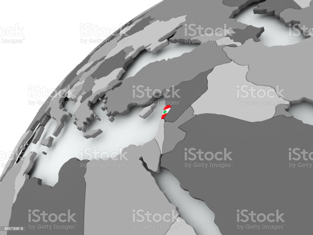 Flag of Lebanon on grey globe stock photo