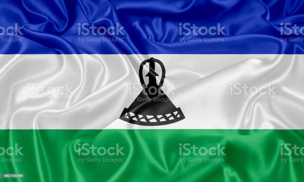 Bandeira de Lesoto - Foto de stock de Antigo royalty-free