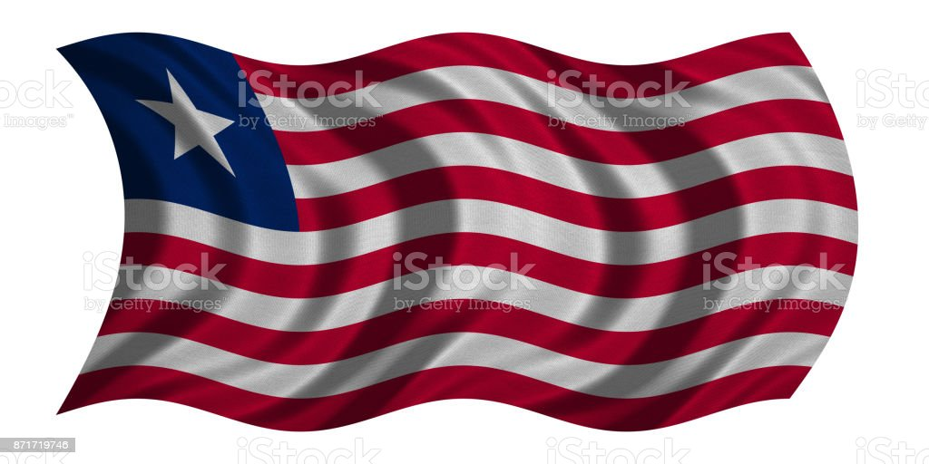 Flag of Liberia wavy on white, fabric texture stock photo
