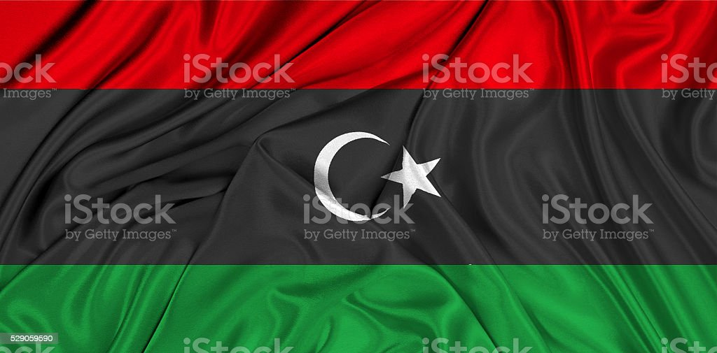 Flag of Libya 3d, silk textured stock photo