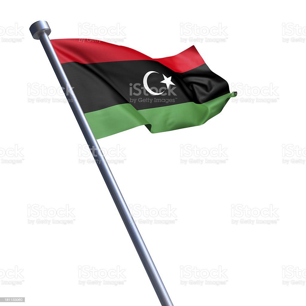 Flag of Libya isolated on white royalty-free stock photo