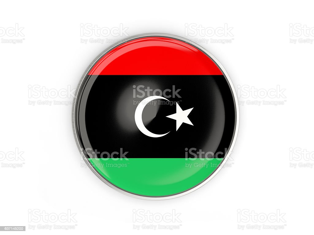 Flag of libya, round icon with metal frame stock photo