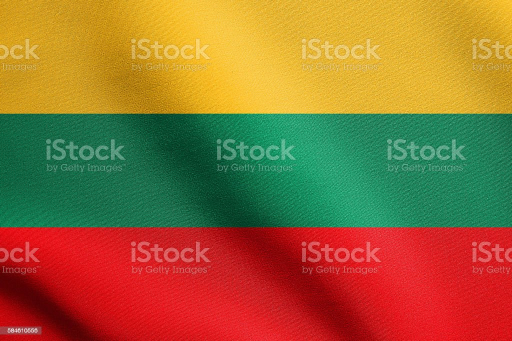Flag of Lithuania waving with fabric texture stock photo