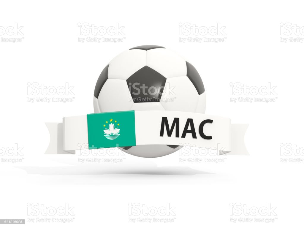 Flag of macao, football with banner and country code stock photo