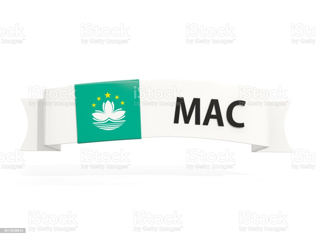 Flag of macao on banner stock photo