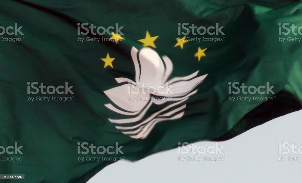 Flag Of Macau Close Up Scene In Macau China stock photo