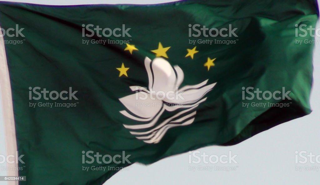 Flag Of Macau Close Up Scene In Macau China.East Asia stock photo